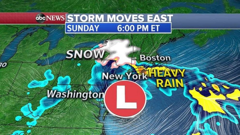 PHOTO: Rain will move into New England, as well as snow inland, on Sunday.