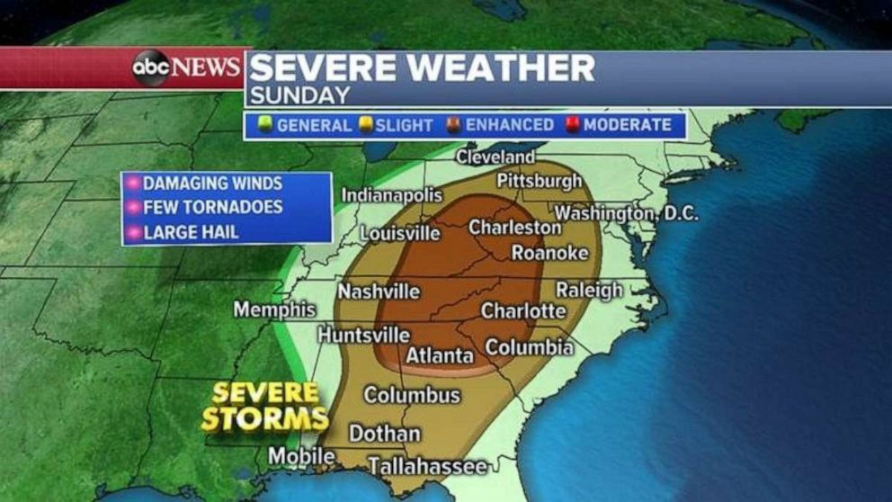 The threat for severe weather moves into the Appalachians on Sunday.
