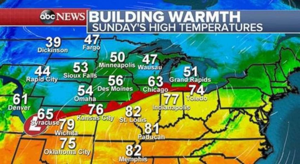 PHOTO: A wide disparity in temperatures exists on Sunday between the Midwest and the Northern Plains.