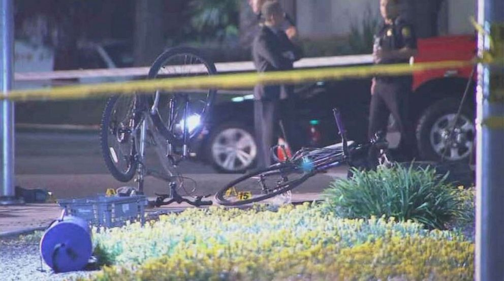 PHOTO: Bicycles lie at the scene of a car crash in Sunnyvale, Calif., where eight people were injured on Tuesday, April 23, 2019.