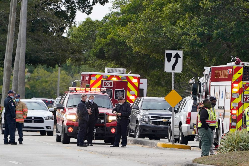 PHOTO: Law enforcement officers block an area where a shooting wounded several FBI while serving an arrest warrant, Feb. 2, 2021, in Sunrise, Fla.