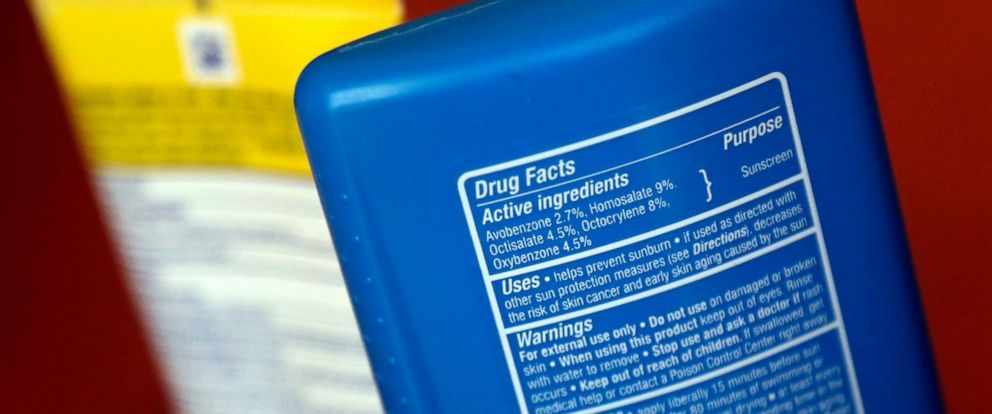PHOTO: Sunscreen ingredients are pictured in a file photo from May 2, 2018, in San Jose, Calif.