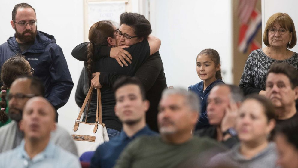 Members of the community attend a memorial service for Marisol Lopez at Nuevo Pacto United Methodist Church in Sebring, Fla., Jan. 24, 2019. Lopez was one of five people killed in a shooting in the Sebring SunTrust Bank.