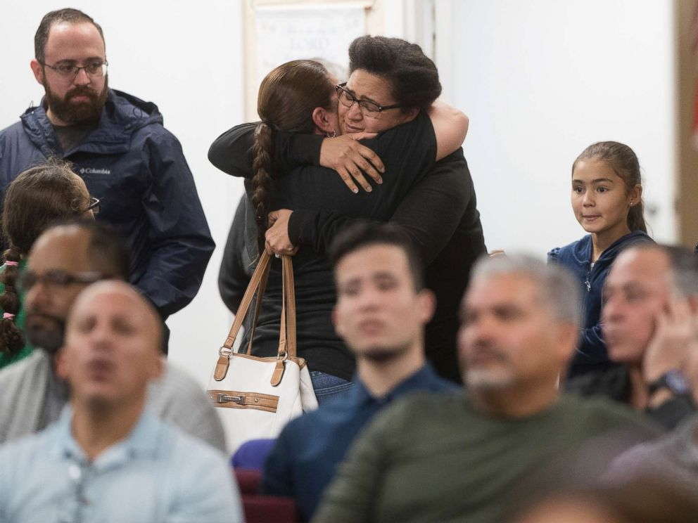 PHOTO: Members of the community attend a memorial service for Marisol Lopez at Nuevo Pacto United Methodist Church in Sebring, Fla., Jan. 24, 2019. Lopez was one of five people killed in a shooting in the Sebring SunTrust Bank.