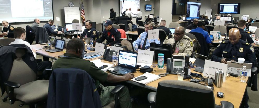PHOTO: Inside the security joint operations center for Sundays Super Bowl in Atlanta.
