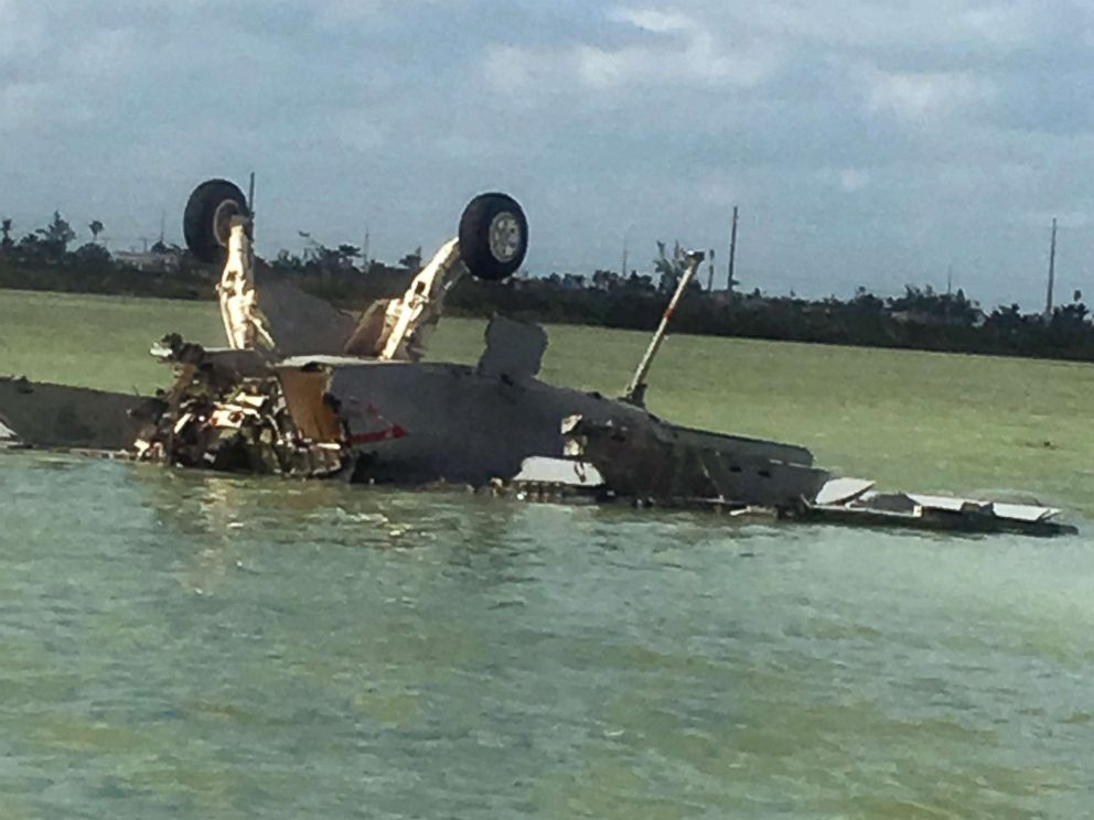 PHOTO: An image made from eyewitness video shows the remains of a Navy F/A-18 Super Hornet that crashed near Boca Chica Field, Naval Air Station, Key West, Fla., on March 14, 2018.
