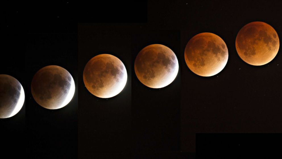 A multi-exposure image of a blood and supermoon is seen across Canada with clear skies in Montreal on the night of Sept. 27, 2015. Astronomers claimed a blood moon would return in 33 years.