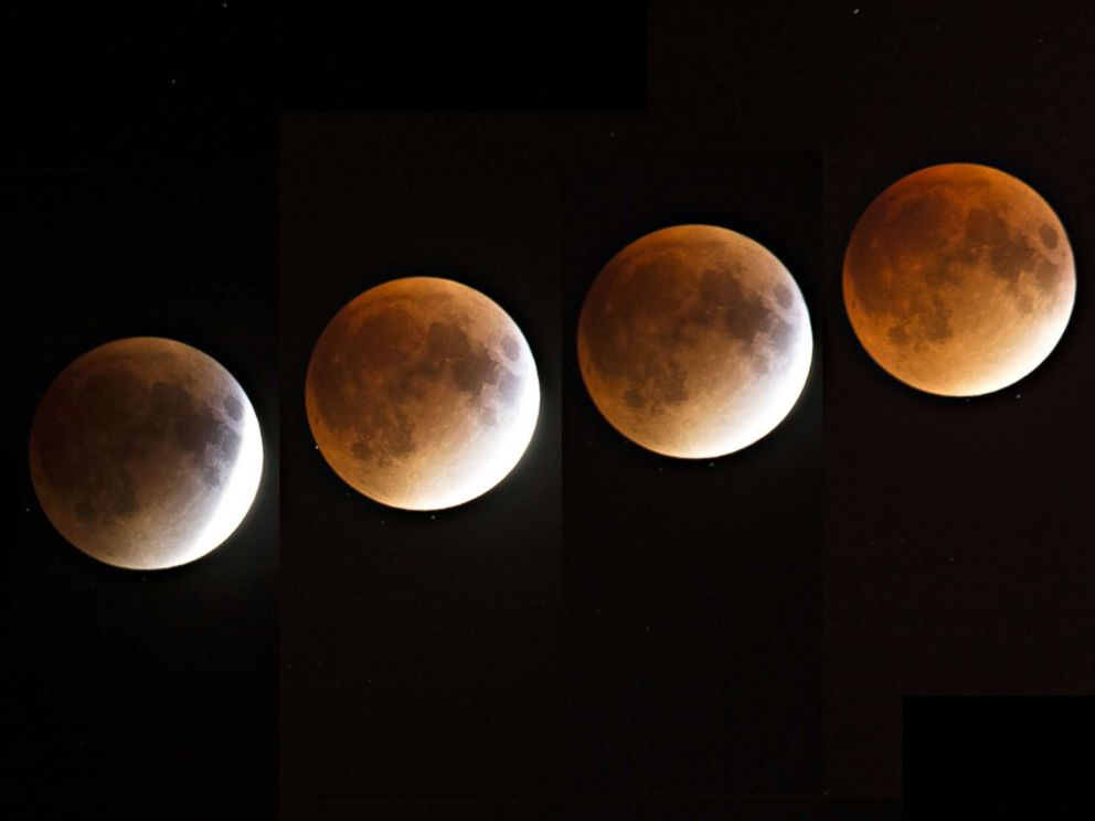 PHOTO: A multi-exposure image of a blood and supermoon is seen across Canada with clear skies in Montreal on the night of Sept. 27, 2015.