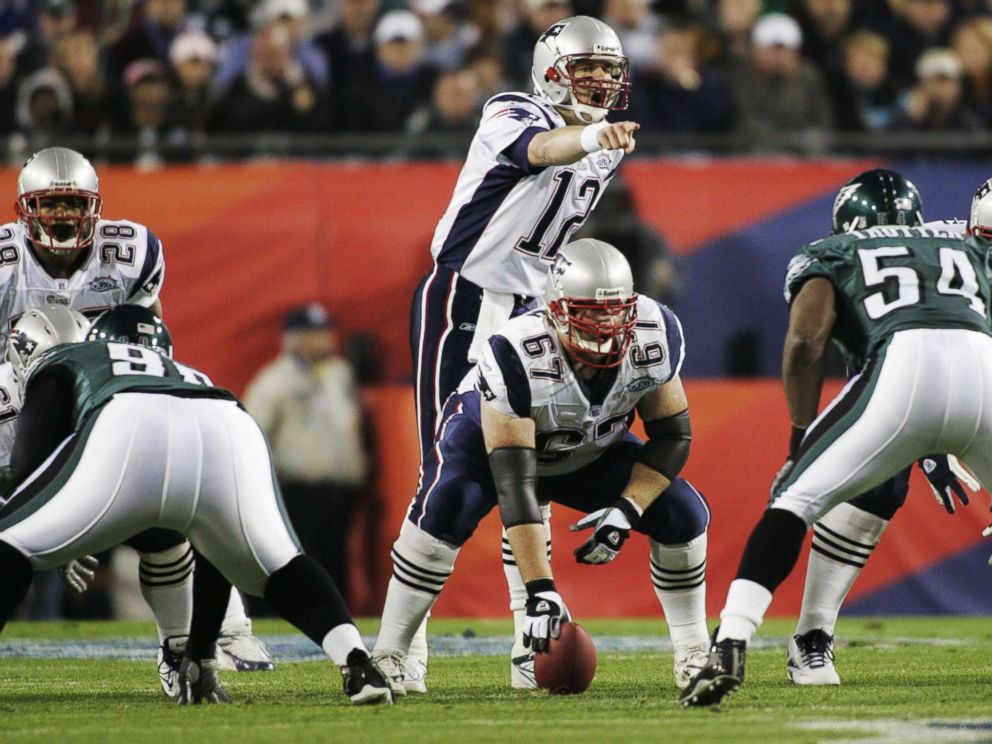 PHOTO: NFL Football Super Bowl Philadelphia Eagles against New England Patriots Tom Brady, Dan Koppen during the Super Bowl 39 in Jacksonville, Fla., Feb.6, 2005 at ALLTEL Stadium.