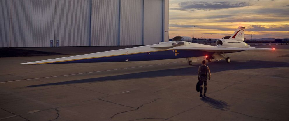 PHOTO: An artist's concept of the low-boom flight demonstrator outside the Lockheed Martin Aeronautics company's Skunk Works hangar in Palmdale, California.