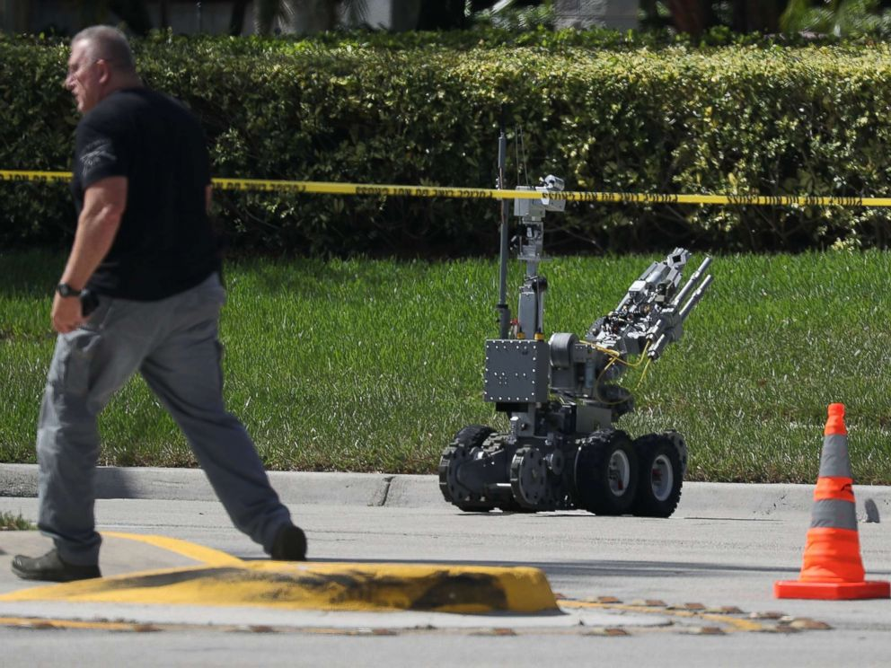 PHOTO: The Broward Sheriffs Office bomb squad deploys a robotic vehicle to investigate a suspicious package in the building where Rep. Debbie Wasserman Schultz has an office, Oct. 24, 2018, in Sunrise, Fla.