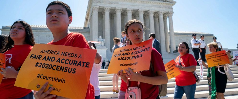 PHOTO: Young demonstrators gather at the Supreme Court as the justices finish the term with key decisions on Capitol Hill in Washington, June 27, 2019.