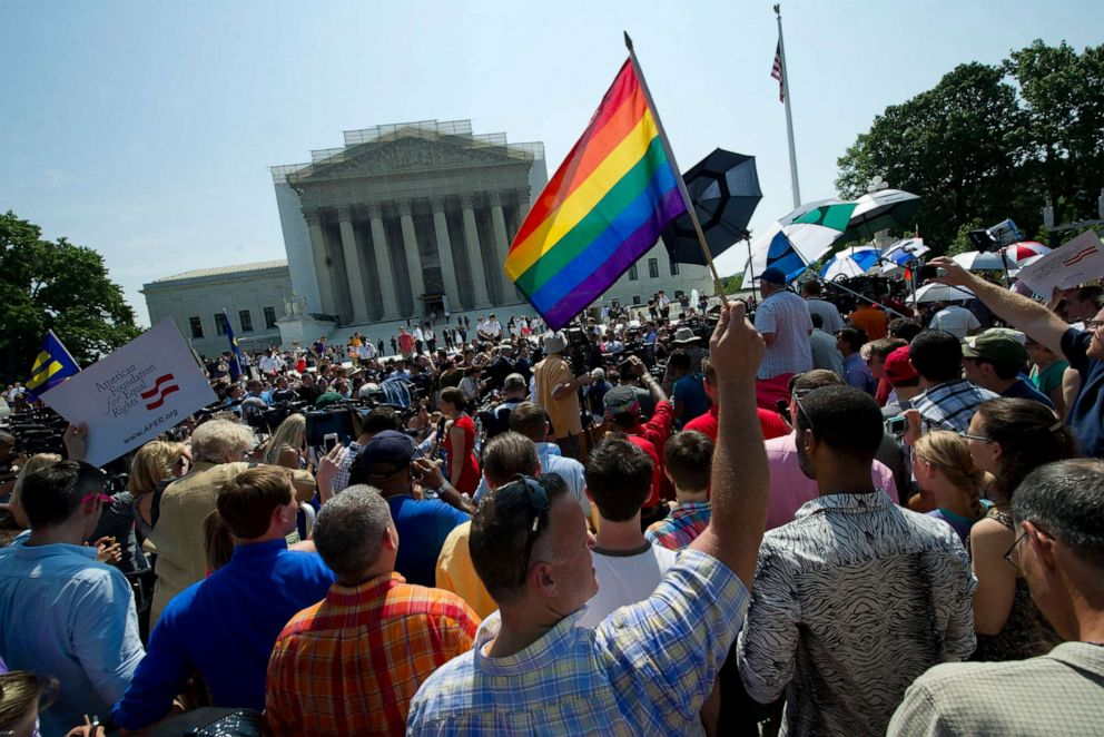 PHOTO: In this June 26, 2013, file photo, gay and lesbian activists protest in front of the U.S. Supreme Court building in Washington, D.C.