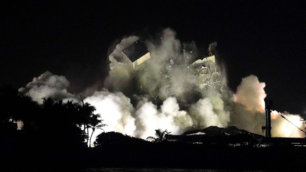 PHOTO: The remaining structure of the Champlain Towers South condo building is demolished more than a week after it partially collapsed, July 4, 2021, in Surfside, Fla.