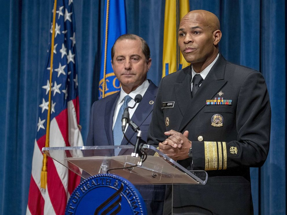 PHOTO: Surgeon General Jerome Adams and Health and Human Services Secretary Alex Azar speak at press conference, Aug. 29, 2019, in Washington, D.C.