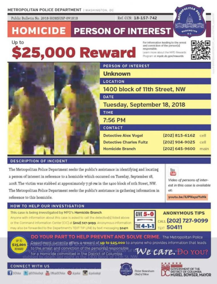 PHOTO: Police are searching for a suspect who allegedly stabbed a Washington, D.C., woman on Sept. 18, 2018.