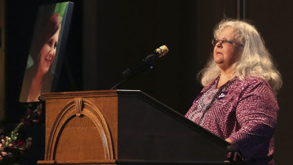 Susan Bro, mother to Heather Heyer, speaks during a memorial for her daughter, at the Paramount Theater, Aug. 16, 2017, in Charlottesville, Va.