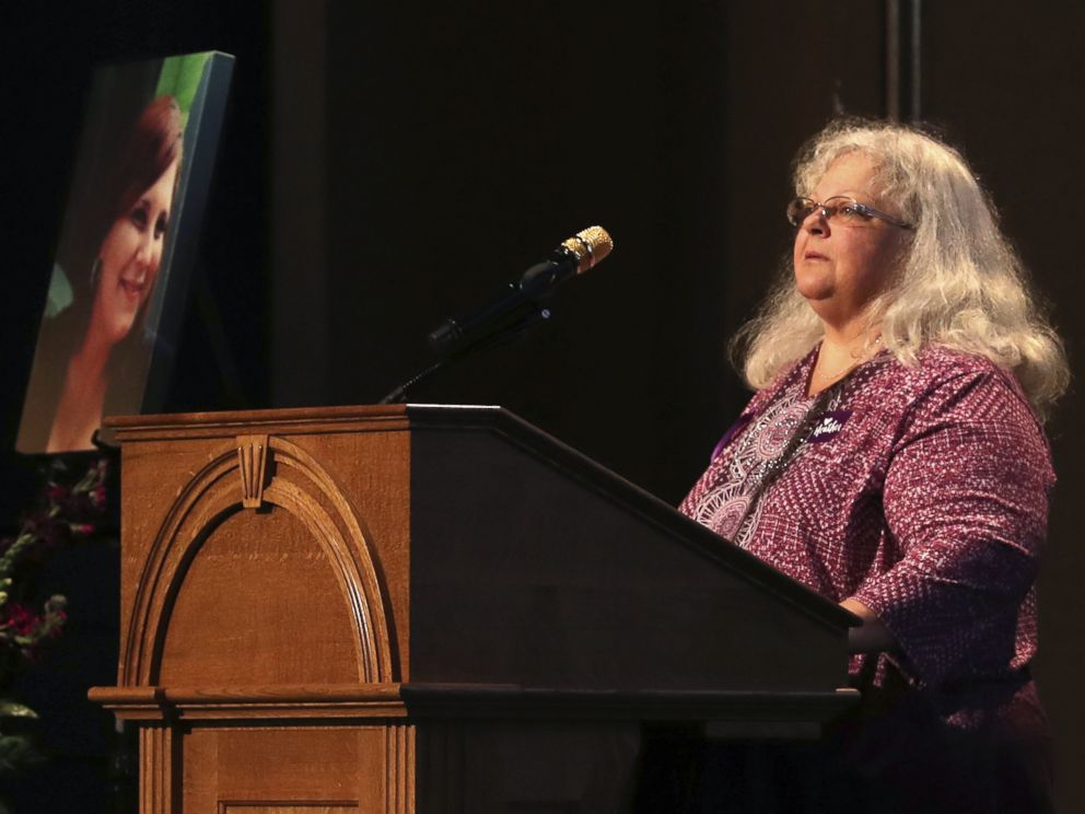 PHOTO: Susan Bro, mother to Heather Heyer, speaks during a memorial for her daughter, at the Paramount Theater, Aug. 16, 2017, in Charlottesville, Va.