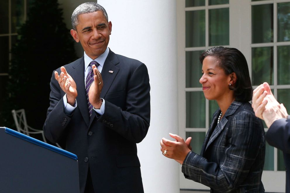 PHOTO: President Barack Obama stands with United Nations Ambassador Susan Rice, his choice to be his next National Security Adviser, in the Rose Garden at the White House in Washington, June 5, 2013.