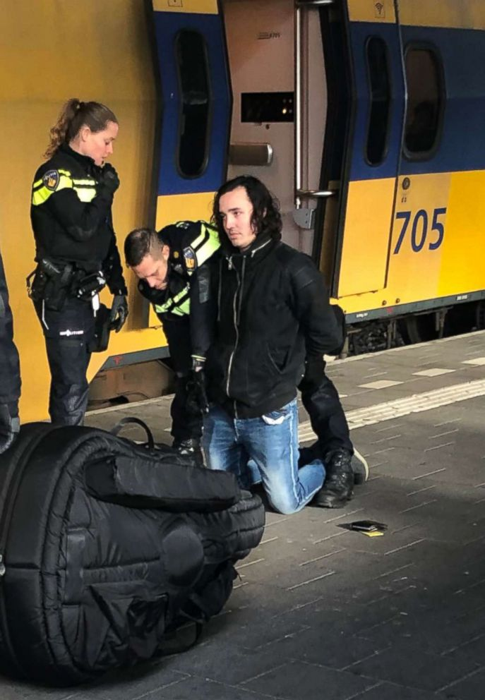 PHOTO: The suspect in the stabbing death of an American student as he was arrested at the Eindhoven train station.