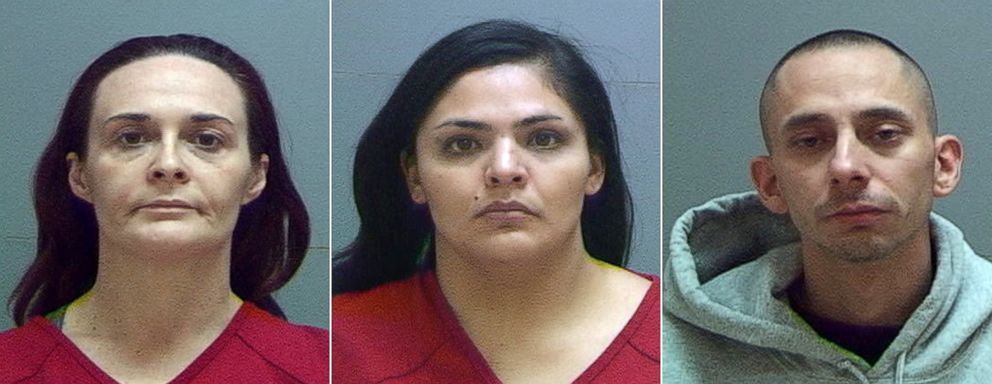 A man and two women were arrested over the weekend in the killing of David Stokoe, a landlord police believe was shot to death in a dispute over rent. The suspects are, from left, Jessica Miller, 38, Diana Hernandez, 30, and Manuel Velasquez, 31.