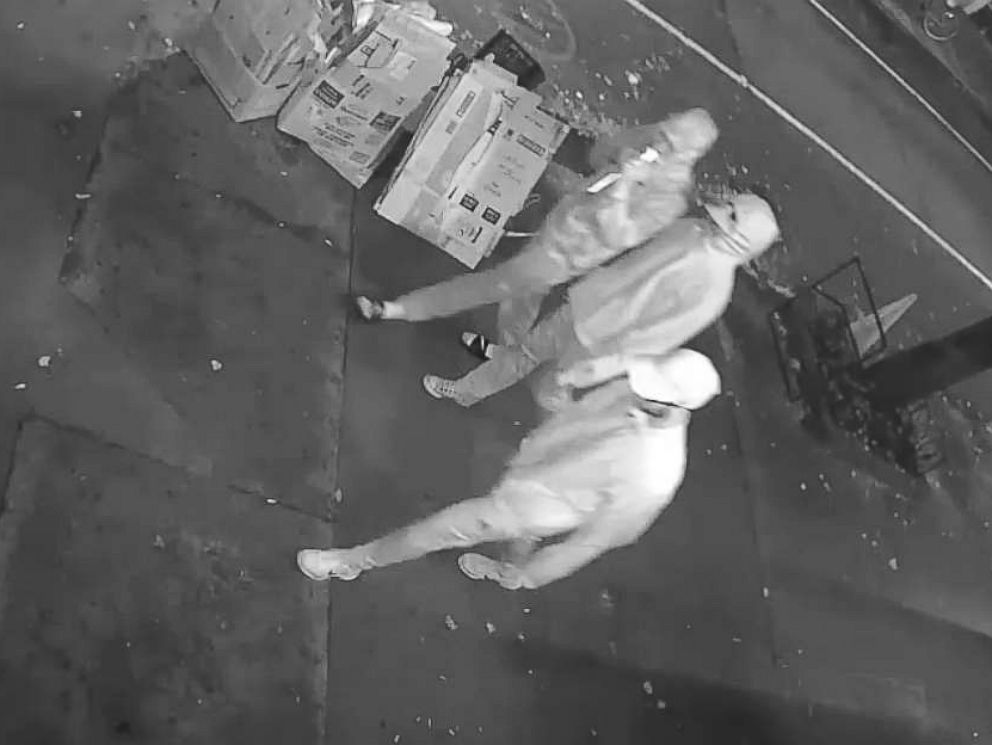 PHOTO: Surveillance footage captured a close up image of three males wearing baseball caps and hooded sweatshirts whom NYPD suspects are the vandals who painted the pink swastika on the Midtown Manhattan synagogue.