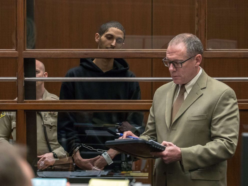 PHOTO: Tyler Barriss stands near public defender Mearl Lottman as he appears for an extradition hearing at Los Angeles Superior Court, Jan. 3, 2018, in Los Angeles.