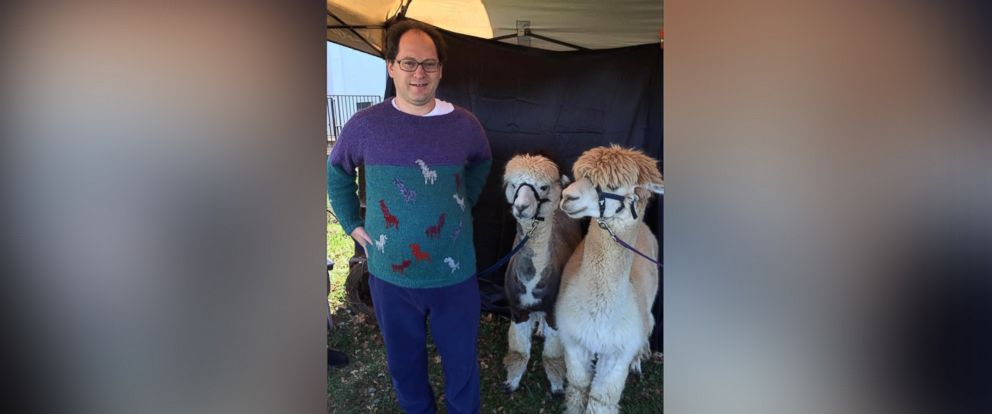 PHOTO: Sam Barsky knits sweaters of famous places and landmarks, and then visits those places decked out his matching sweaters.