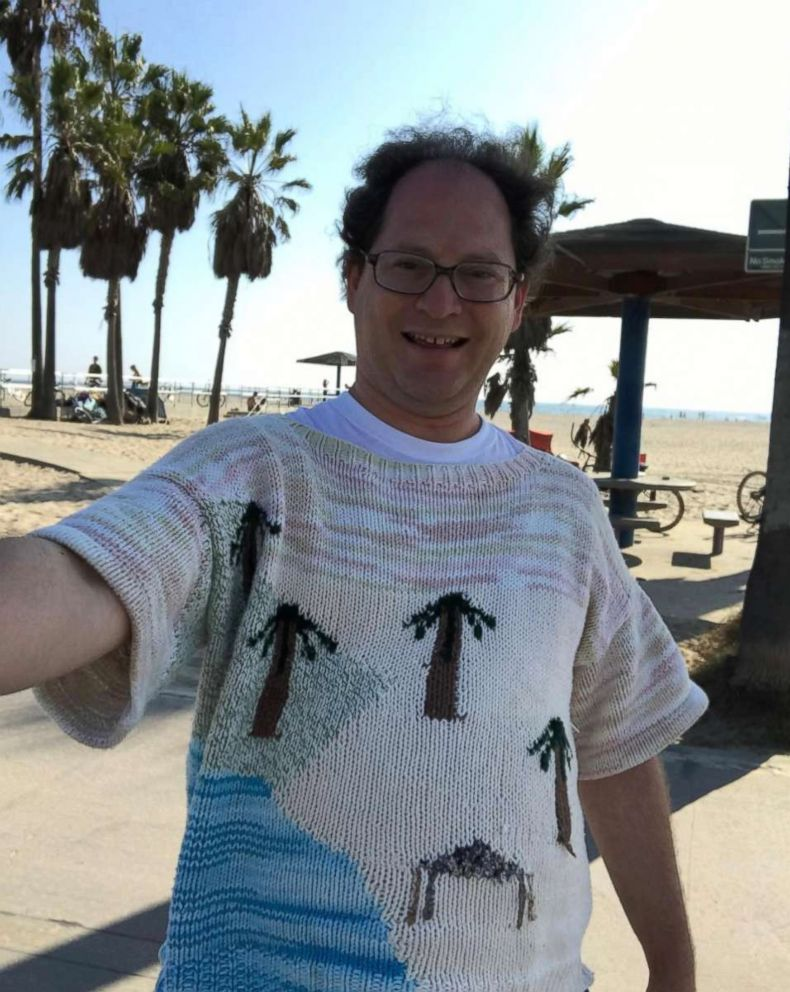 PHOTO: Sam Barsky knits sweaters of famous places and landmarks, and takes pictures there while in his matching sweater.