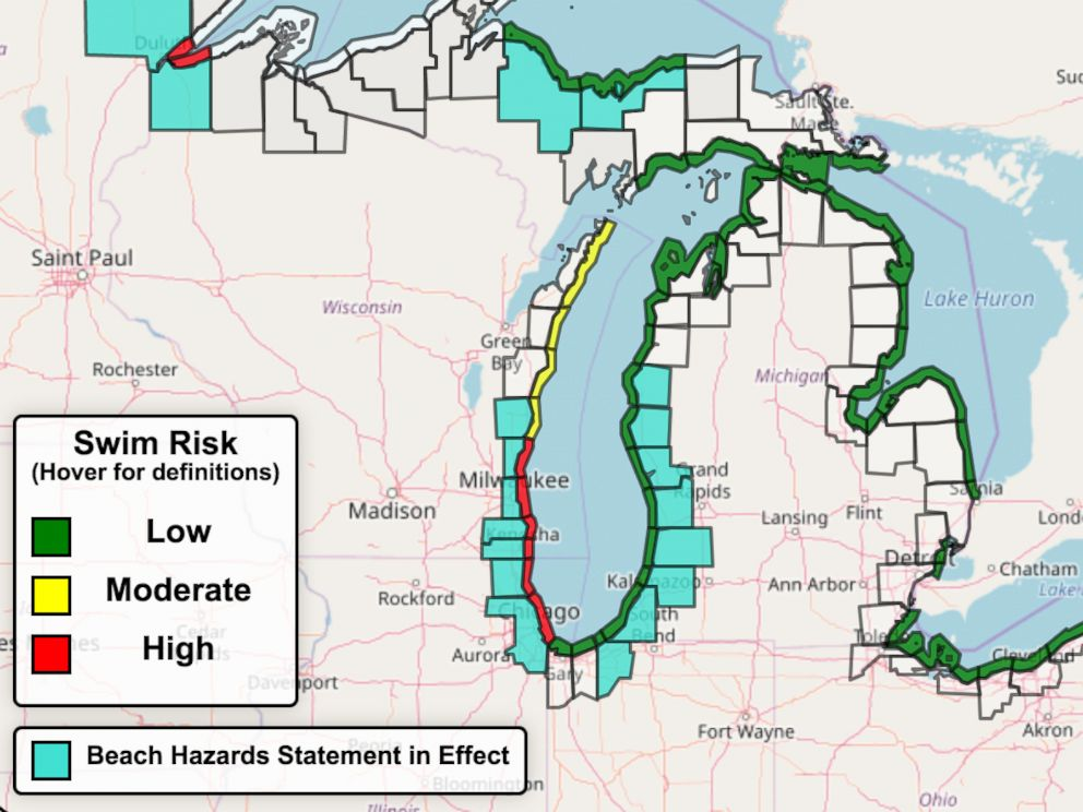Beach Hazard Issued For Several States After 3 Boys Pulled From Lake - Lake-michigan-us-map