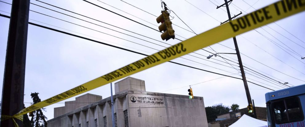 PHOTO: Police tape is viewed around the area, Oct. 28, 2018, outside the Tree of Life Synagogue after a fatal shooting in Pittsburgh, Oct. 27, 2018.