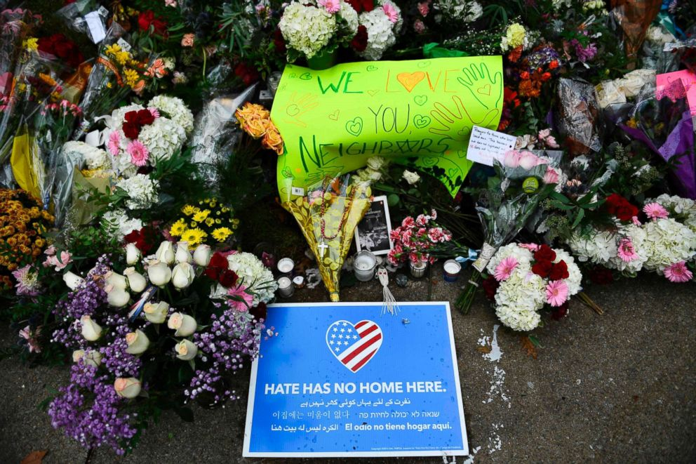 PHOTO: A memorial is seen on Oct. 28, 2018, down the road from the Tree of Life synagogue after a shooting there left 11 people dead in Pittsburgh, Oct. 27, 2018.