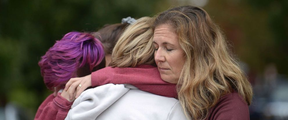 PHOTO: From left, Cody Murphy, 17 Sabrina Weihrauch, and Amanda Godley, left, comfort one another after an active shooter situation at Tree of Life Synagogue in Pittsburgh, Oct. 27, 2018.