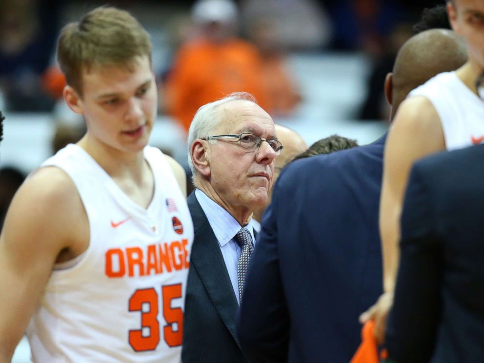 PHOTO: Head coach Jim Boeheim of the Syracuse Orange looks on during a time-out in the second half against the St. Rose Golden Knights during the second half at the Carrier Dome, Oct. 25, 2018, in Syracuse, N.Y.