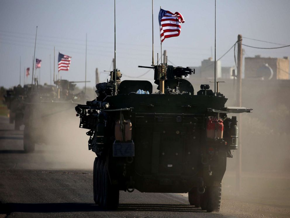 PHOTO: A convoy of US forces drive near the village of Yalanli, on the western outskirts of the northern Syrian city of Manbij, March 5, 2017.