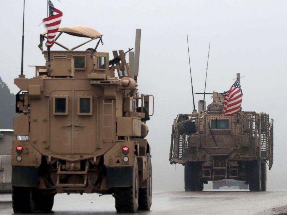 PHOTO: US militia automobiles are seen in Syrias northern city of Manbij, Dec. 30, 2018.