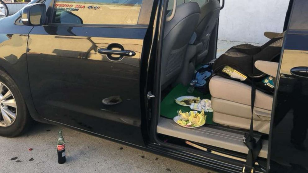 A family of 6 were enjoying a taco meal in their minivan in City of Industry, Calif., June 10, 2018, when a man on his bike came over and tried to rob them.