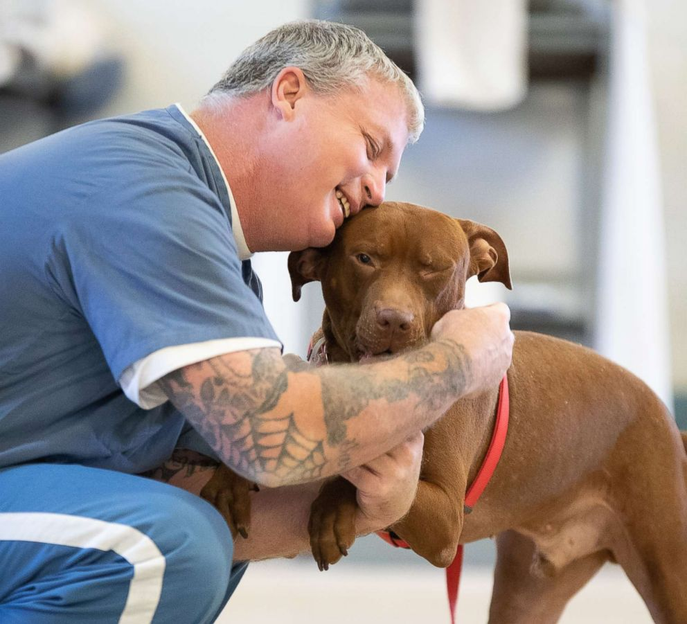 PHOTO: The joy the inmates gain from interacting with the dogs in the TAILS program is almost instantaneous, photographer Adam Goldberg told ABC News.
