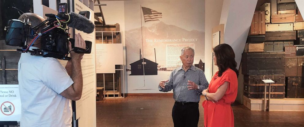 """PHOTO: George Takei talks with """"Nightline"""" co-anchor Juju Chang during an interview with """"Nightline."""""""