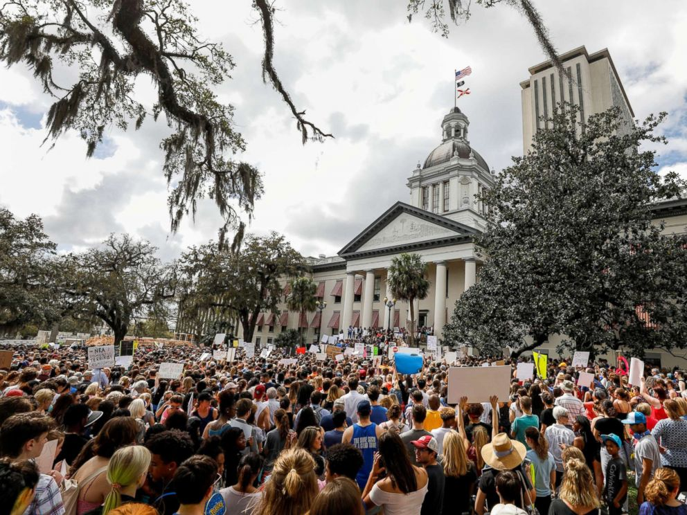 PHOTO: Protesters rally outside the Capitol urging Florida lawmakers to reform gun laws, in the wake of last weeks mass shooting at Marjory Stoneman Douglas High School, in Tallahassee, Fla., Feb. 21, 2018.
