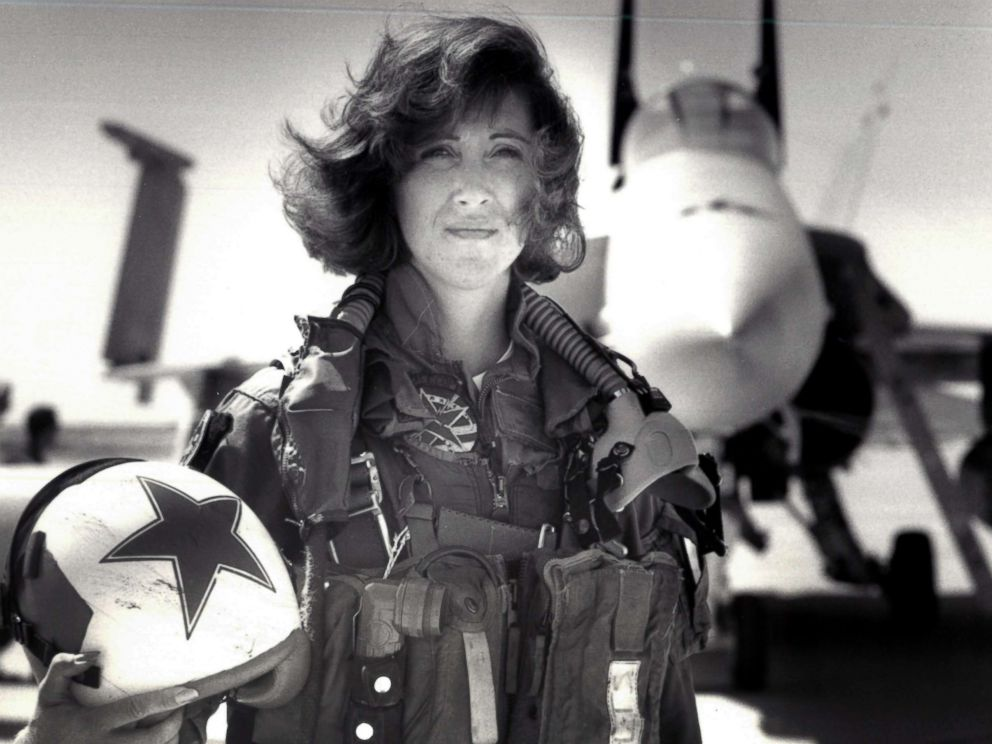PHOTO: Lt. Tammie J. Shults, one of the first women to fly Navy tactical aircraft, poses in front of an F/A-18A in 1992. After leaving active duty in early 1993, Shults served in the Navy Reserve until 2001.