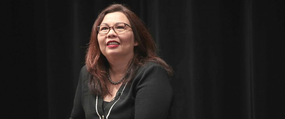 PHOTO: U.S. Senator Tammy Duckworth speaks during a town hall meeting, April 11, 2017, in Palatine, Ill.