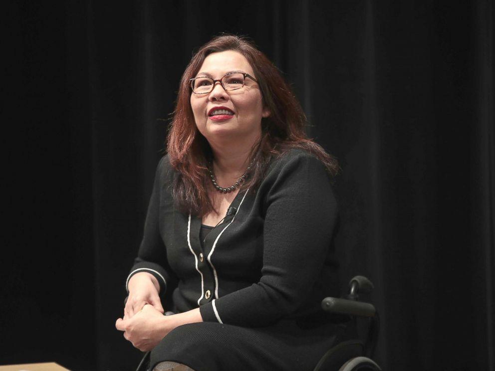 PHOTO: U.S. Senator Tammy Duckworth speaks during a town hall meeting, April 11, 2017, in Palatine, Ill.