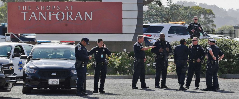 PHOTO: Police investigate at the scene of a shooting at the Tanforan Mall in San Bruno, Calif., Tuesday, July 2, 2019.