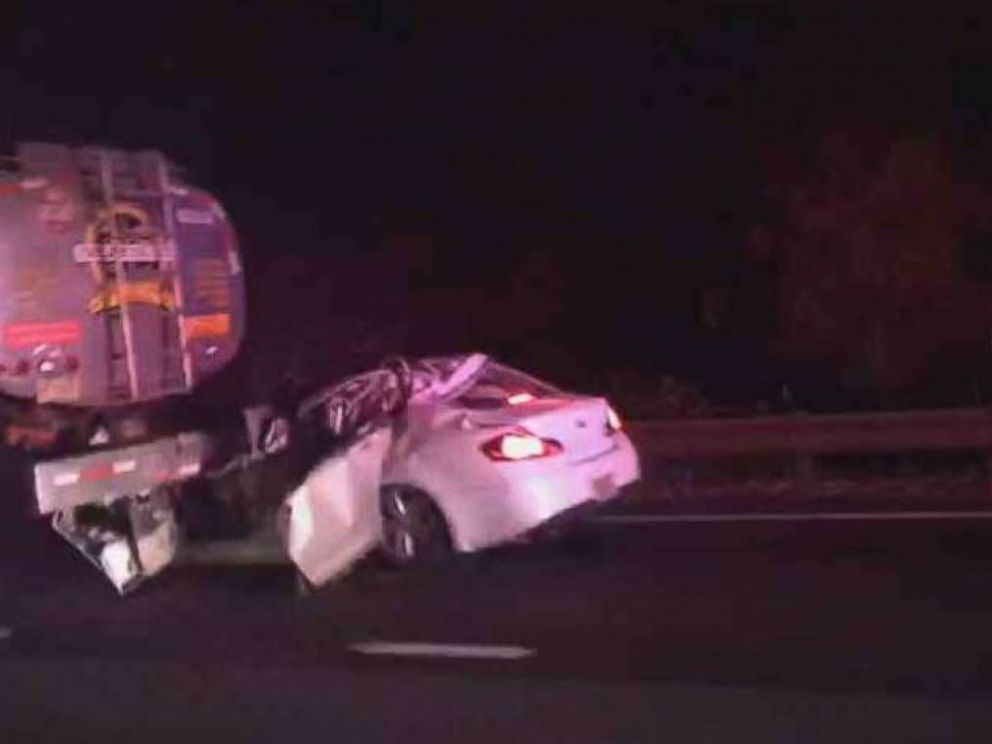 PHOTO: Four people were killed when their car plowed into the back of a tanker truck on the Garden State Parkway in Berkeley Township, N.J., on Wednesday, Dec. 26, 2018.