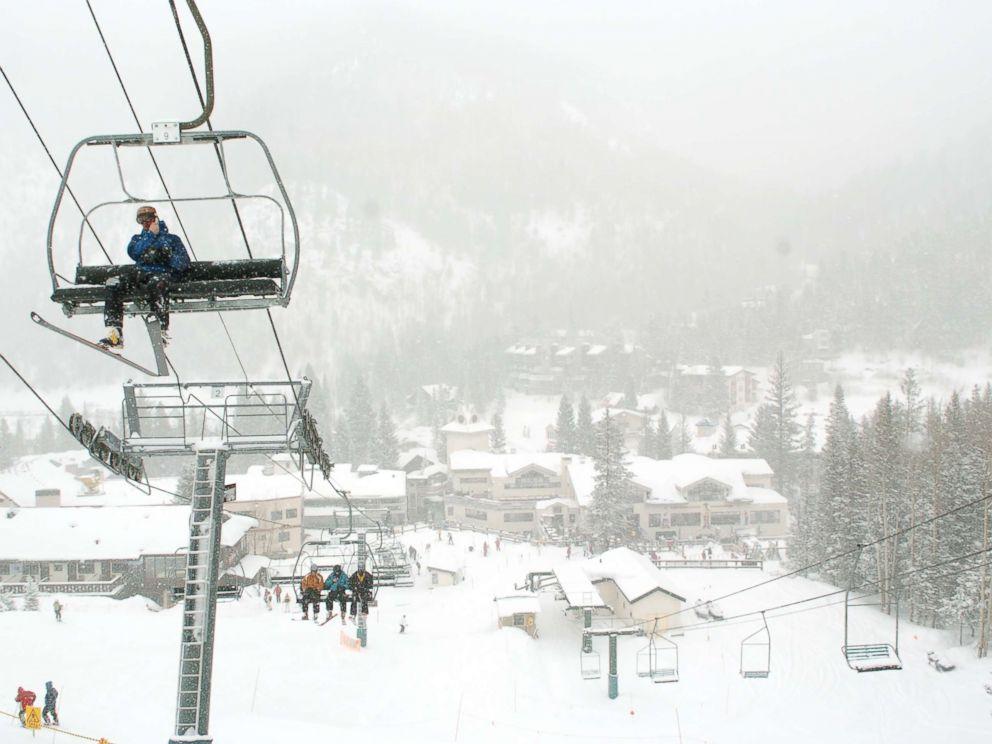 PHOTO: Skiers ride up Als Run lift at the Taos Ski Valley, Feb. 1, 2008.