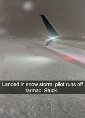 PHOTO: Delta passenger Brad Ritti posted a list to Twitter after the flight he modified into once on slid off the runway, Jan. 13, 2019.