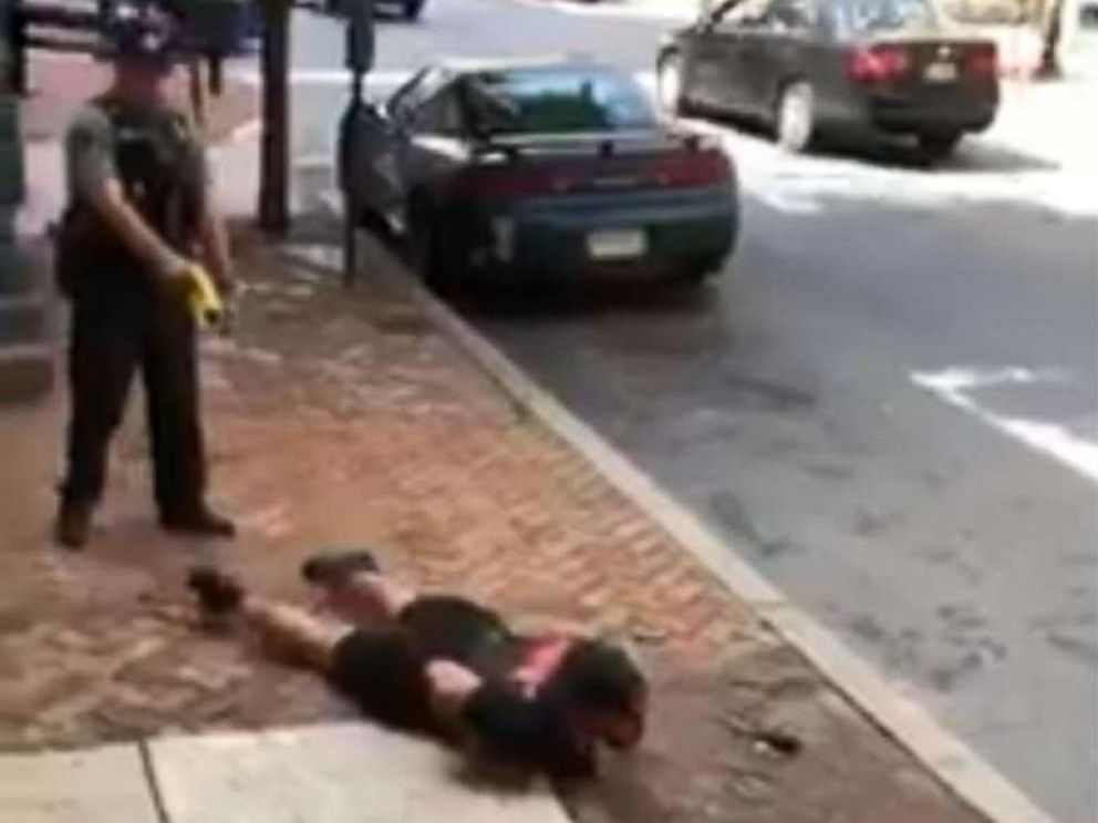 PHOTO: A video grab shows Lancaster Police Officer Philip Bernot tasering Sean Williams.