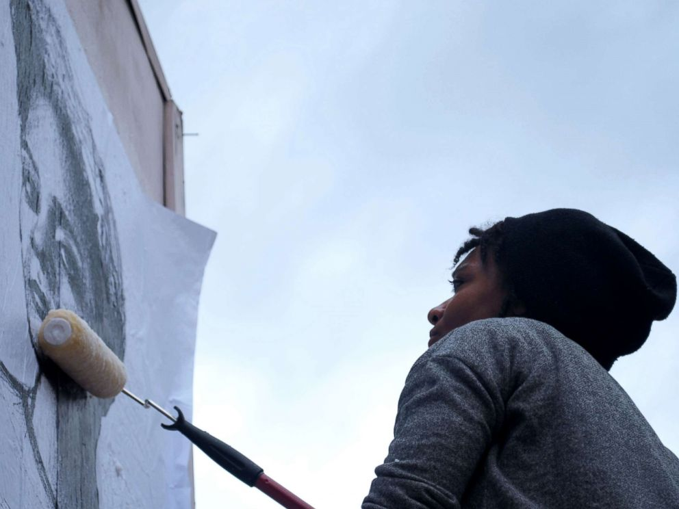 PHOTO: Tatyana Fazlalizadeh, 32, an activist from Oklahoma City, Oklahoma, uses art as a way to combat street harassment
