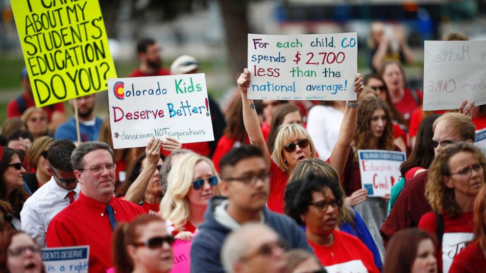 Teachers hold placards during a rally outside the state Capitol, April 16, 2018, in Denver.